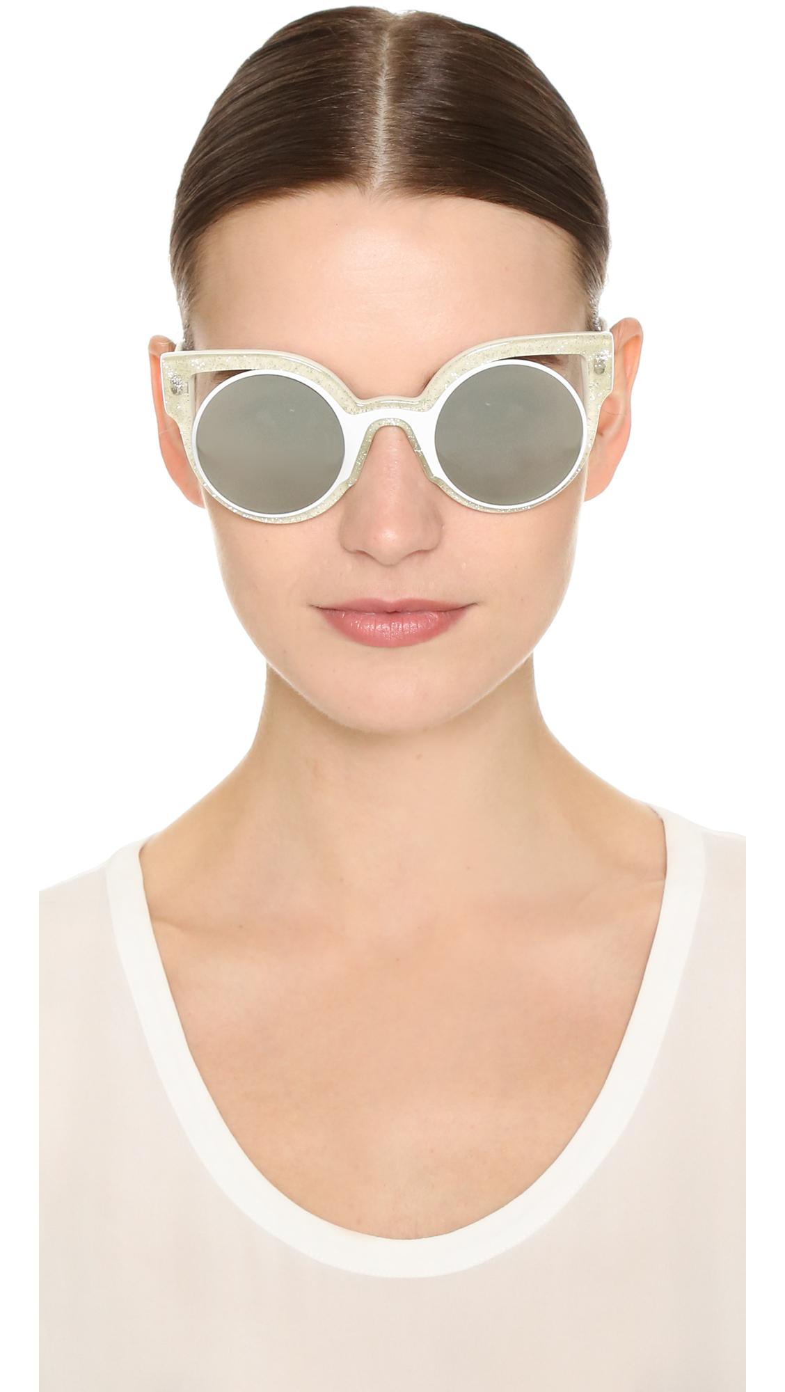 3ad1a23ee6 Lyst - Fendi Round Cutout Sunglasses - Glitter White silver in White