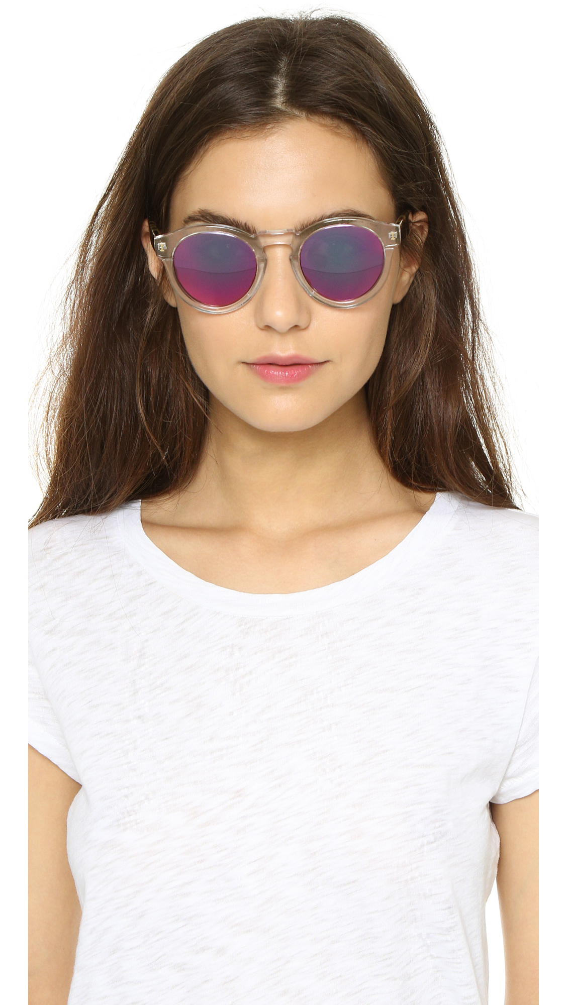 cb1ea29e1f4 Illesteva Leonard Mirrored Sunglasses - Clear   Tortoise pink in ...