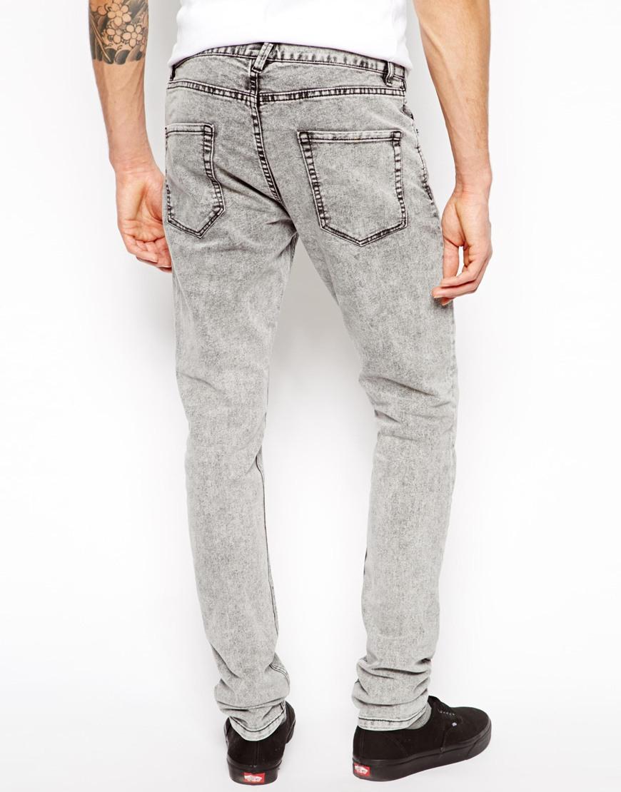 Mens Grey Acid Wash Jeans