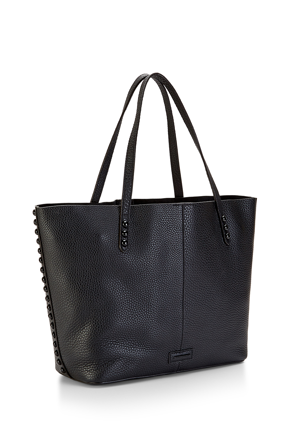 rebecca minkoff studded pebbled leather tote bag in black black black lyst. Black Bedroom Furniture Sets. Home Design Ideas