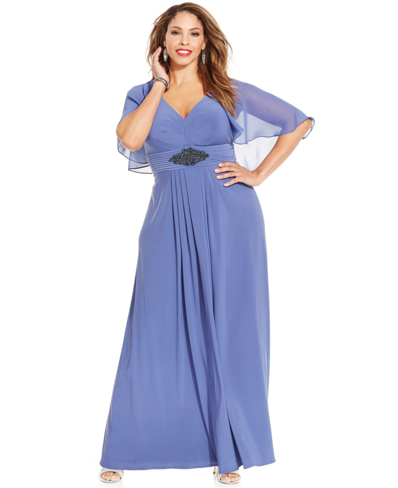 4eb4733f6fa Patra Plus Size Long Dress With Attached Cape in Blue - Lyst