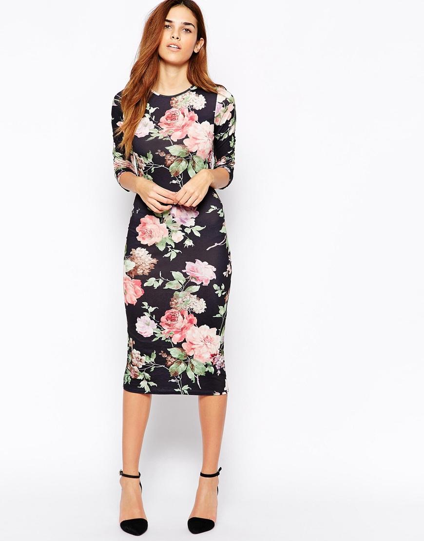 Club l Floral Midi Dress | Lyst