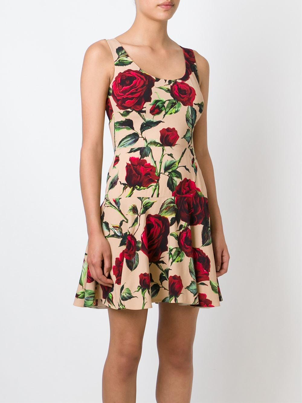 Dolce & gabbana Rose Print Dress in Red (rose) | Lyst