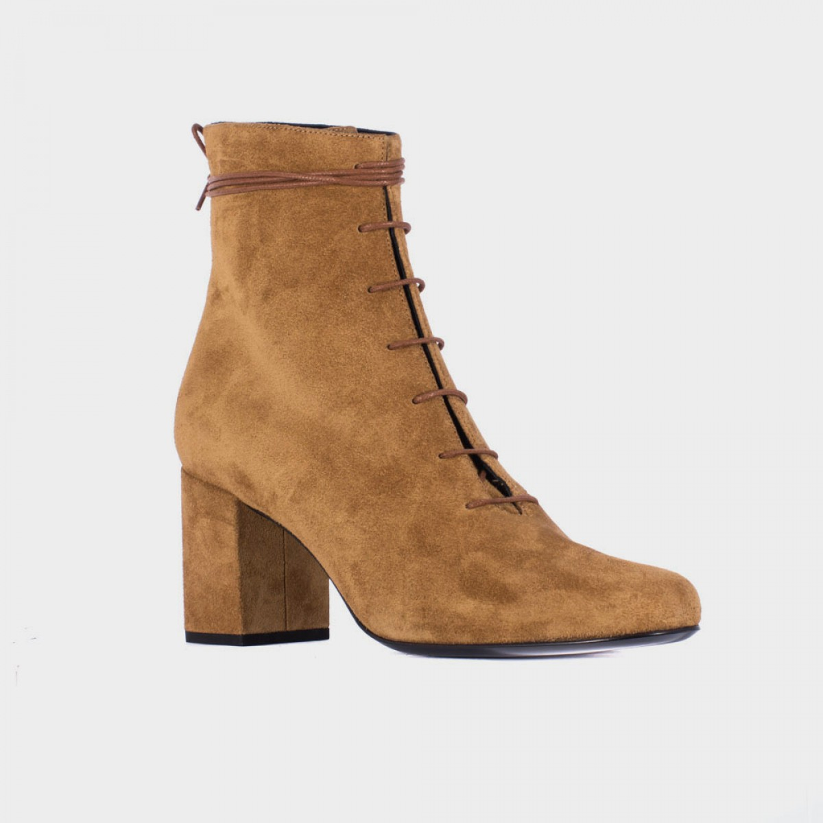 laurent lace up suede ankle boots in beige lyst