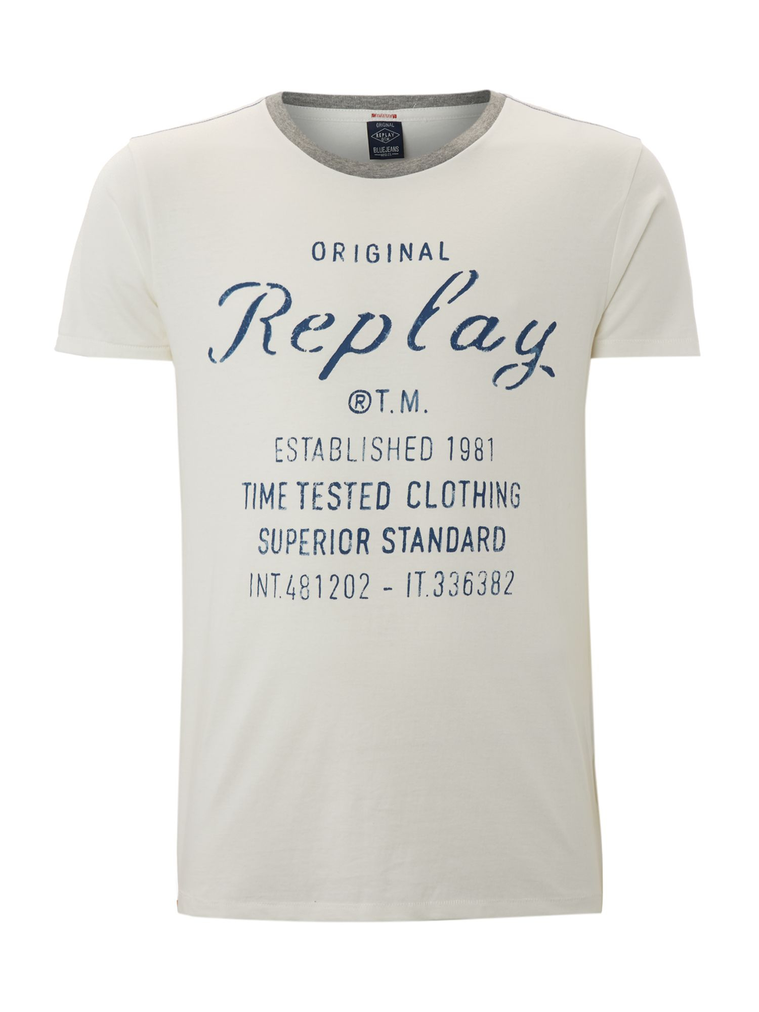 replay round collar basic slim fit jersey tshirt in white for men lyst. Black Bedroom Furniture Sets. Home Design Ideas