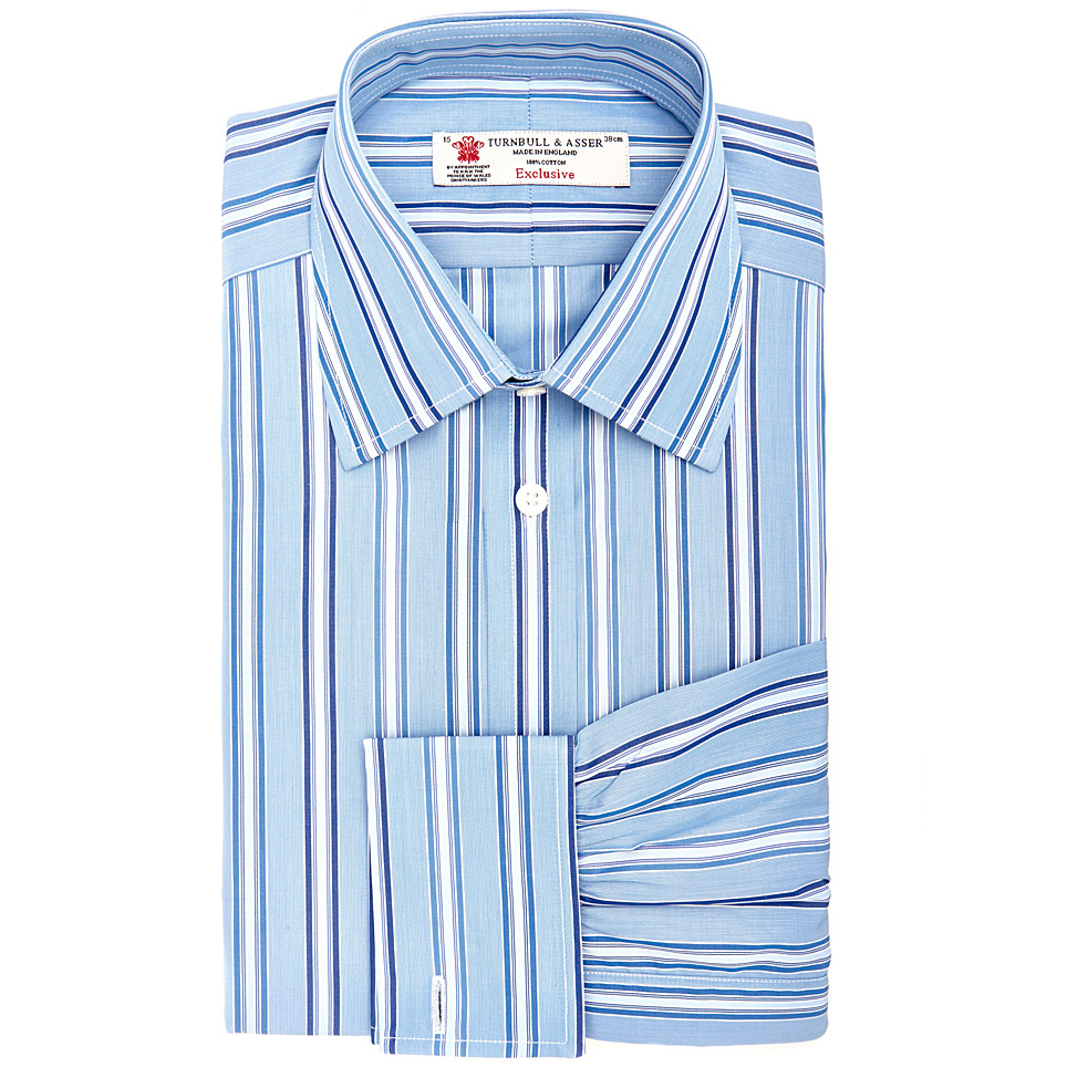 Turnbull Asser Blue And Royal Blue Stripe Shirt With T A