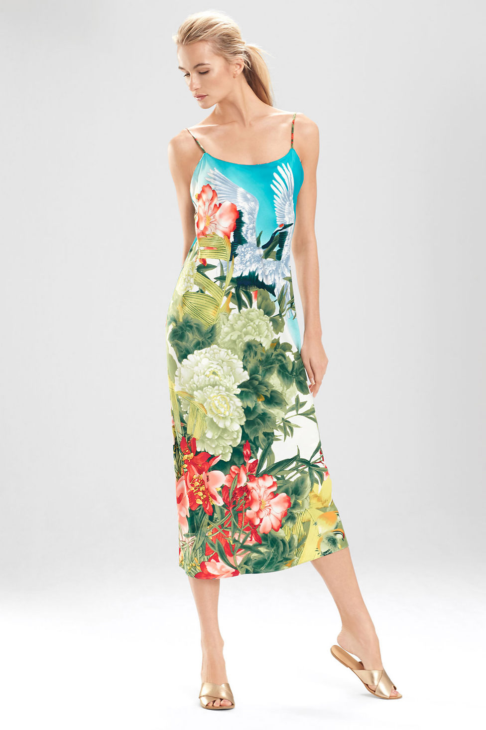 Lyst - Natori Birds Of Paradise Gown in Green