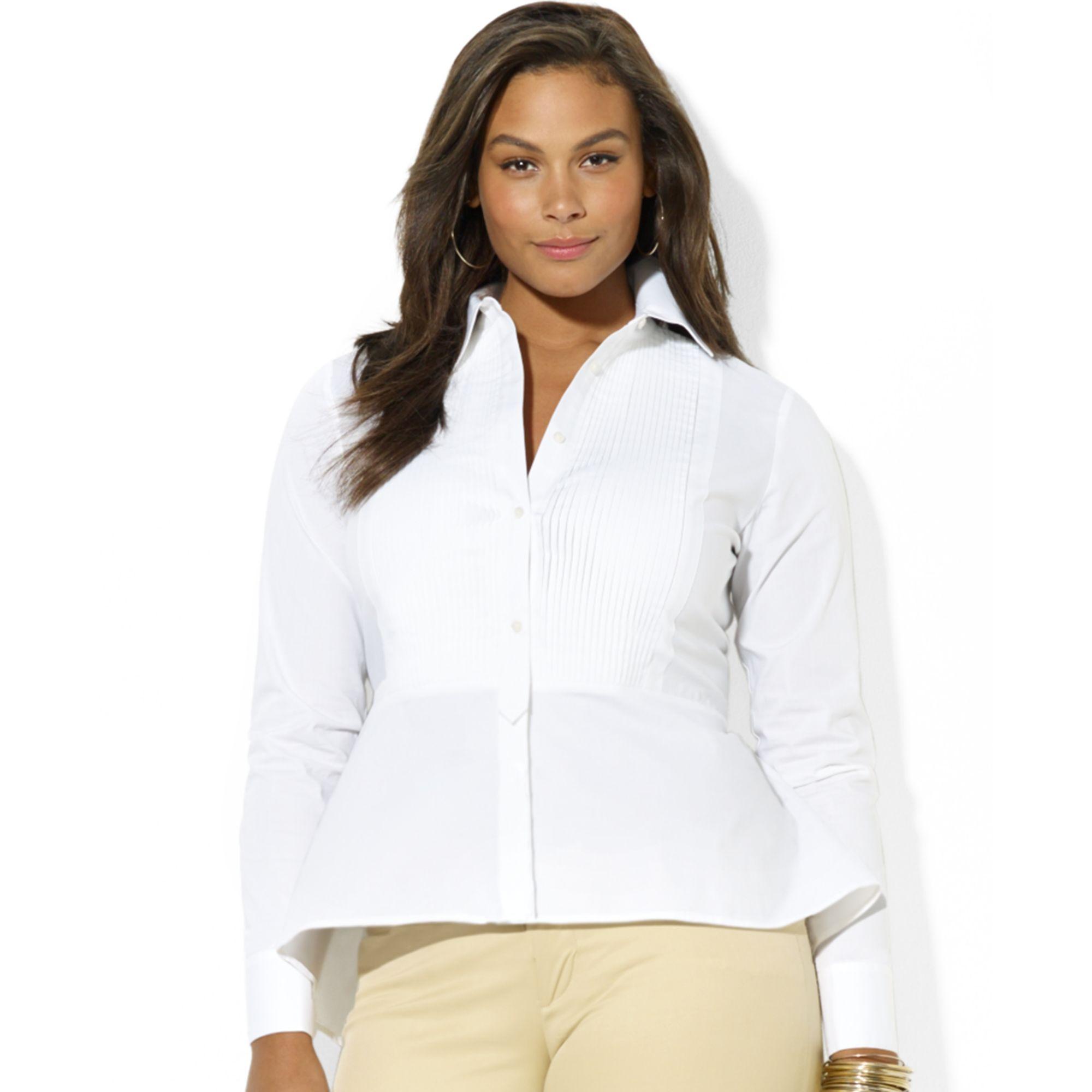 afa4509973014 Lyst - Lauren by Ralph Lauren Plus Size Longsleeve Buttonfront ...