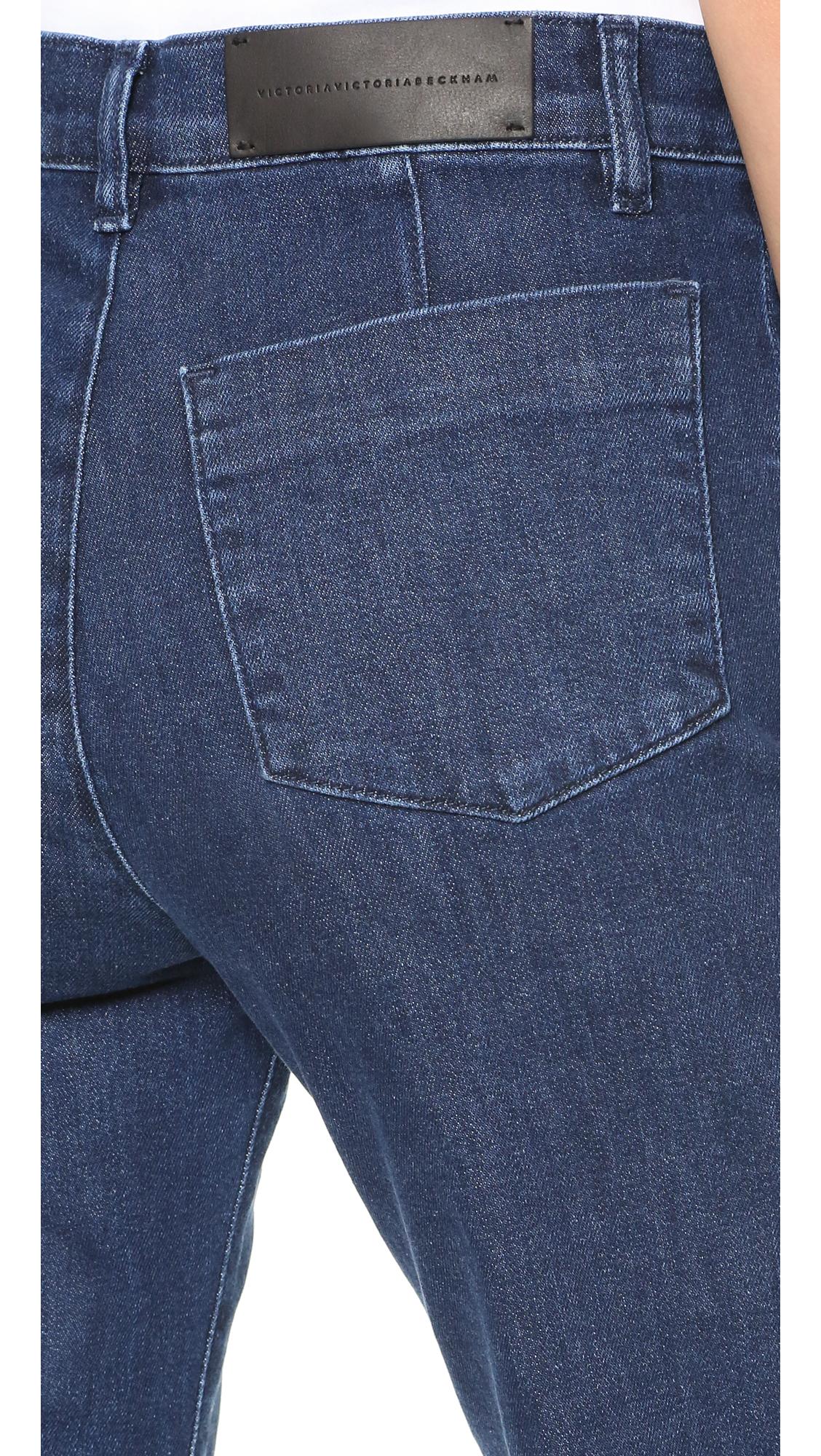 victoria victoria beckham creased wide leg jeans in blue lyst. Black Bedroom Furniture Sets. Home Design Ideas