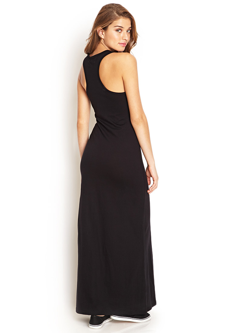 Forever 21 Solid Racerback Maxi Dress in Black | Lyst