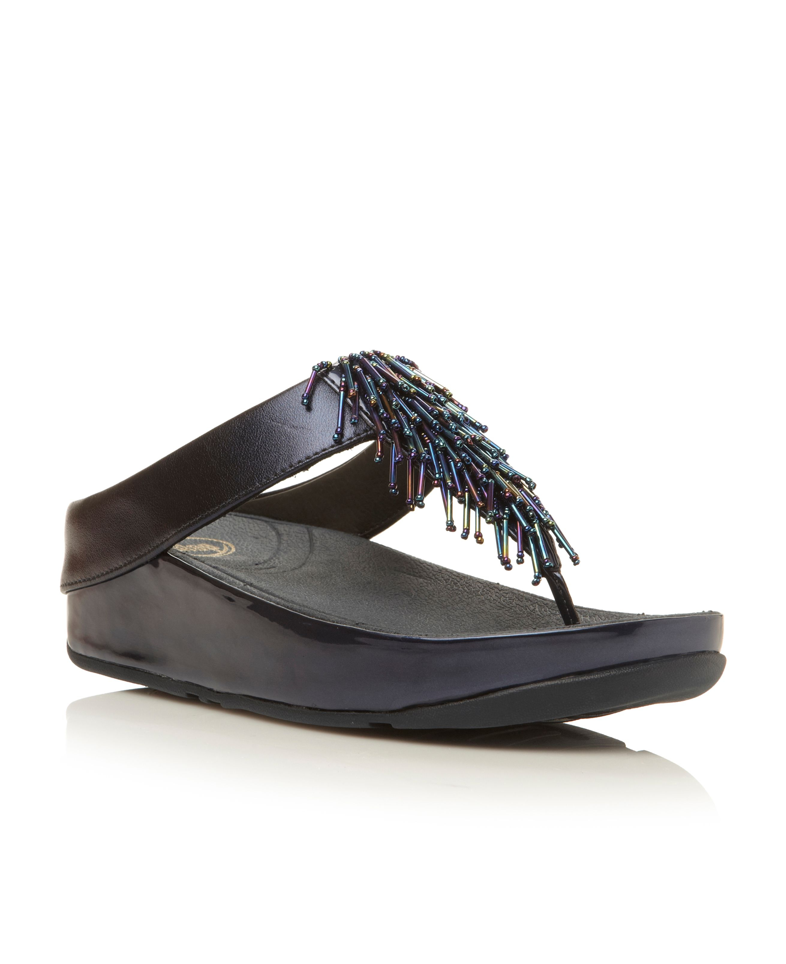 77c992be50f8 Fitflop Cha Cha Beaded Fringe Toe Post Sandals