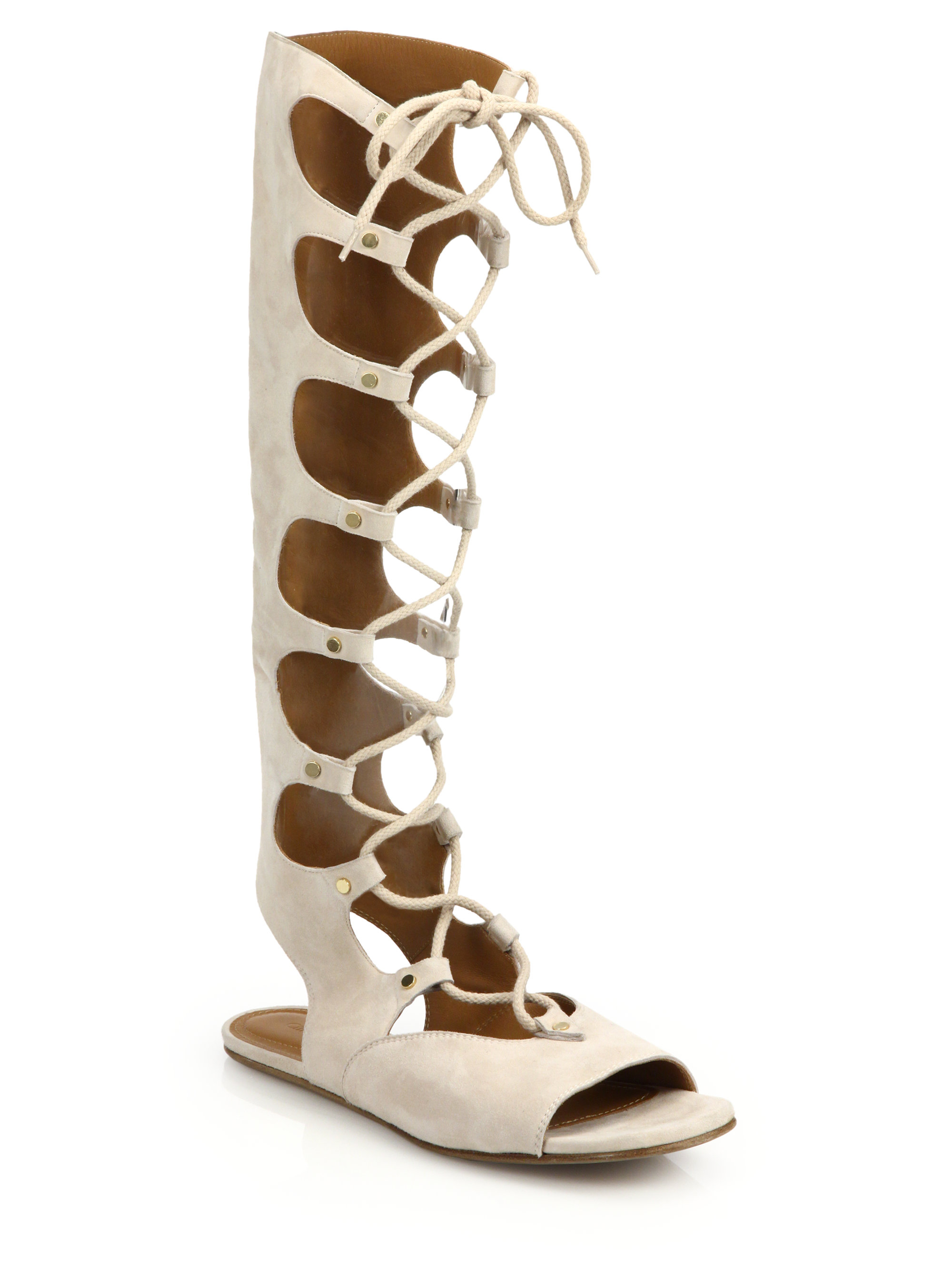 046cd14a89b6 Lyst - Chloé Suede Knee-high Lace-up Sandals in Natural