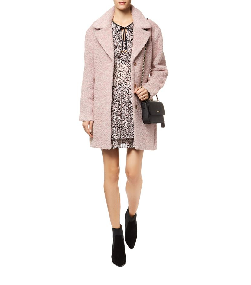 Juicy couture Brushed Wool Coat in Pink | Lyst
