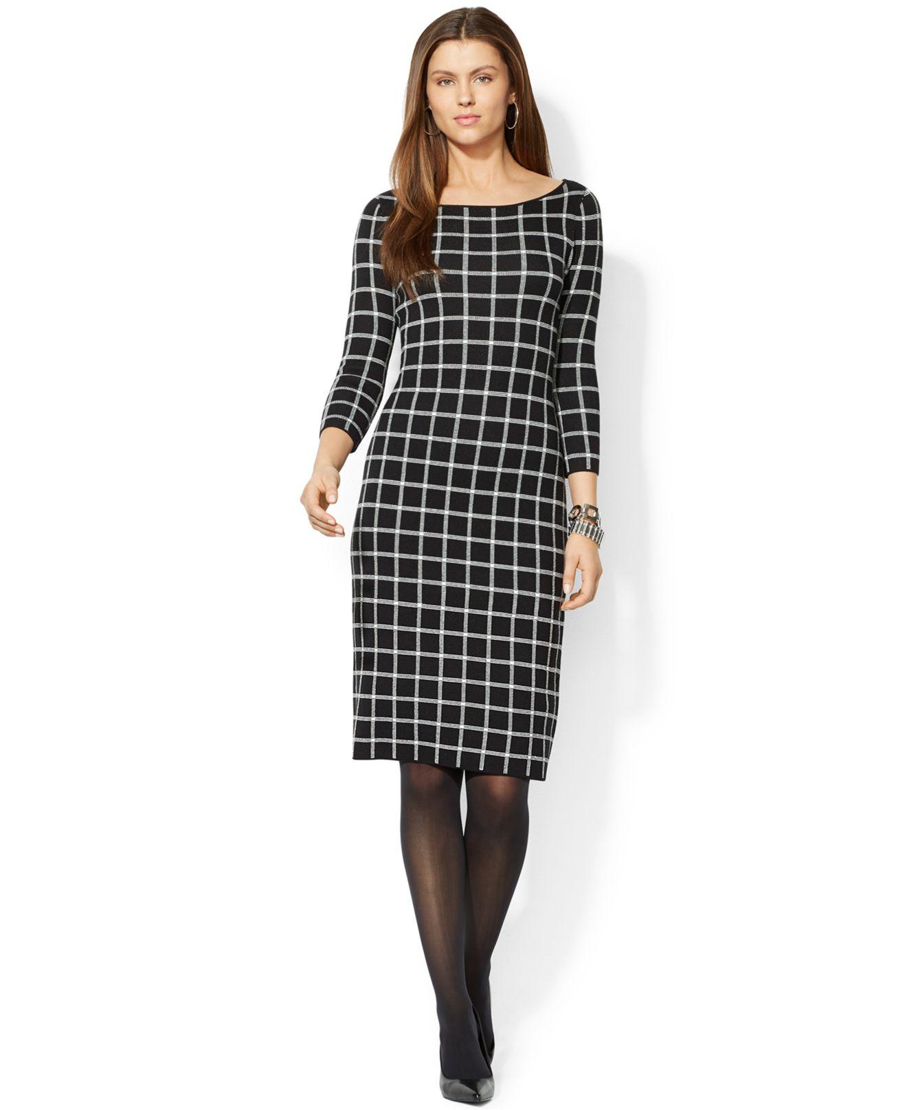 Lauren by ralph lauren Petite Checked Sweater Dress in Black   Lyst