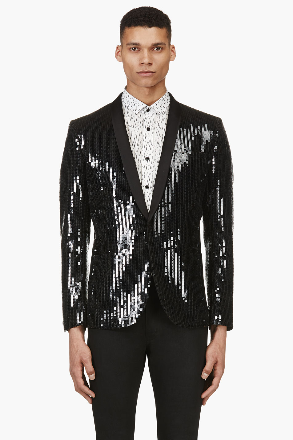 Saint Laurent Black Sequined Blazer In Black For Men Lyst