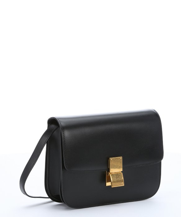 Céline Black Leather Medium 'Classic Box' Shoulder Bag in Black | Lyst