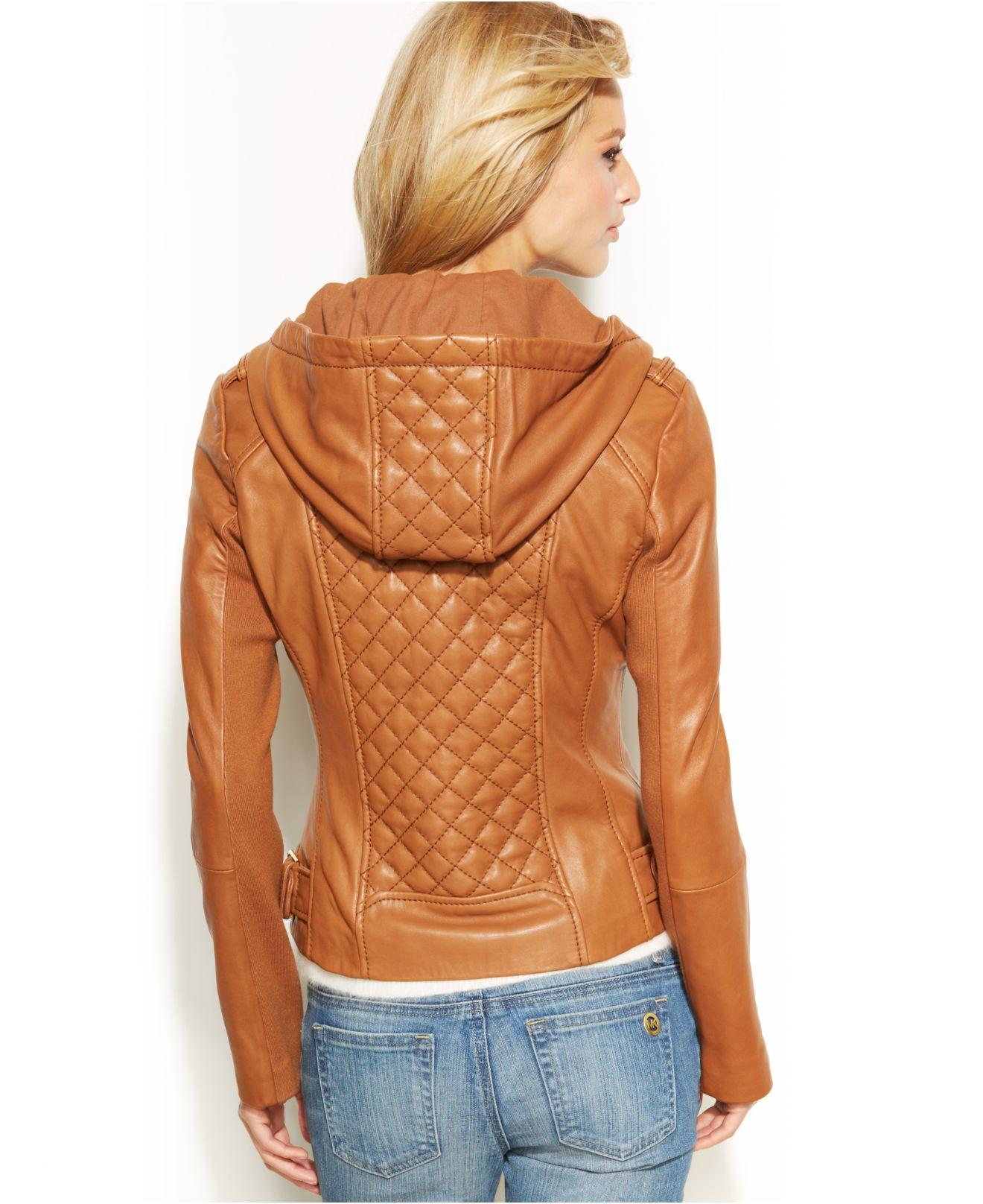de8fdb3f667 Michael Kors Michael Petite Knit-Inset Hooded Leather Jacket in ...