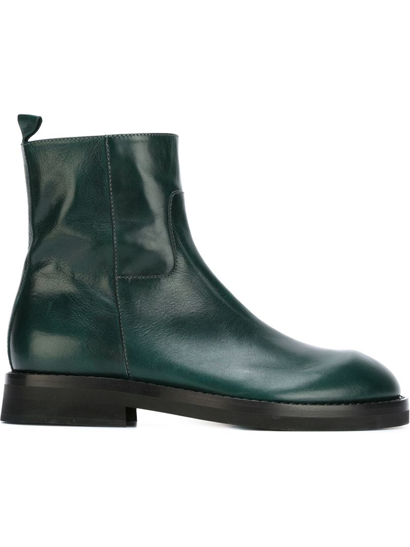 demeulemeester zipped ankle boots in green for lyst