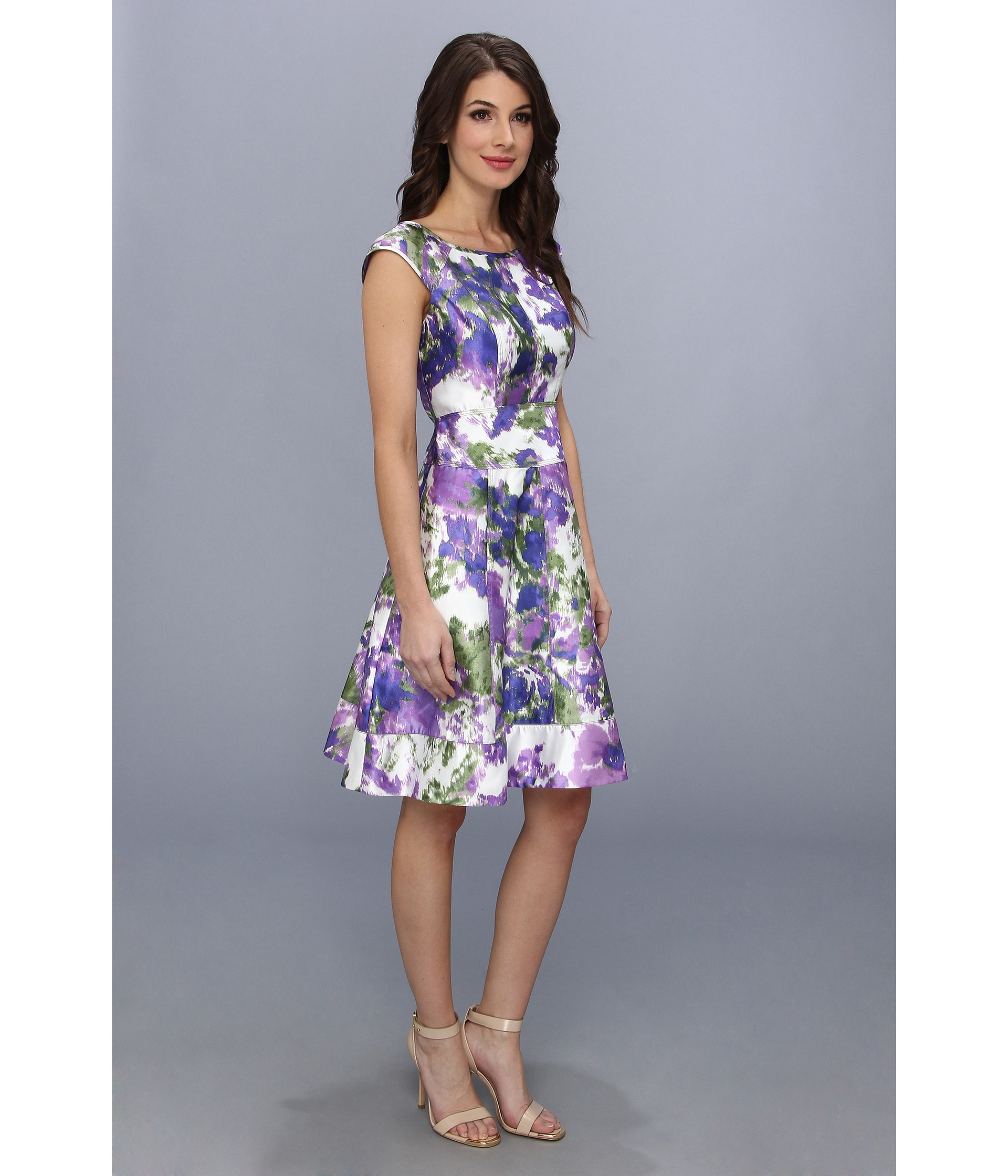 ab3a99ec5b3483 Maggy London Floral Printed Taffeta Cap Sleeve Fit and Flare Dress ...