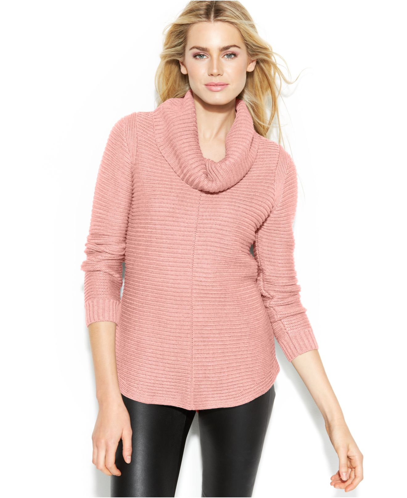 Calvin klein Ribbed Cowl-Neck Sweater in Pink | Lyst