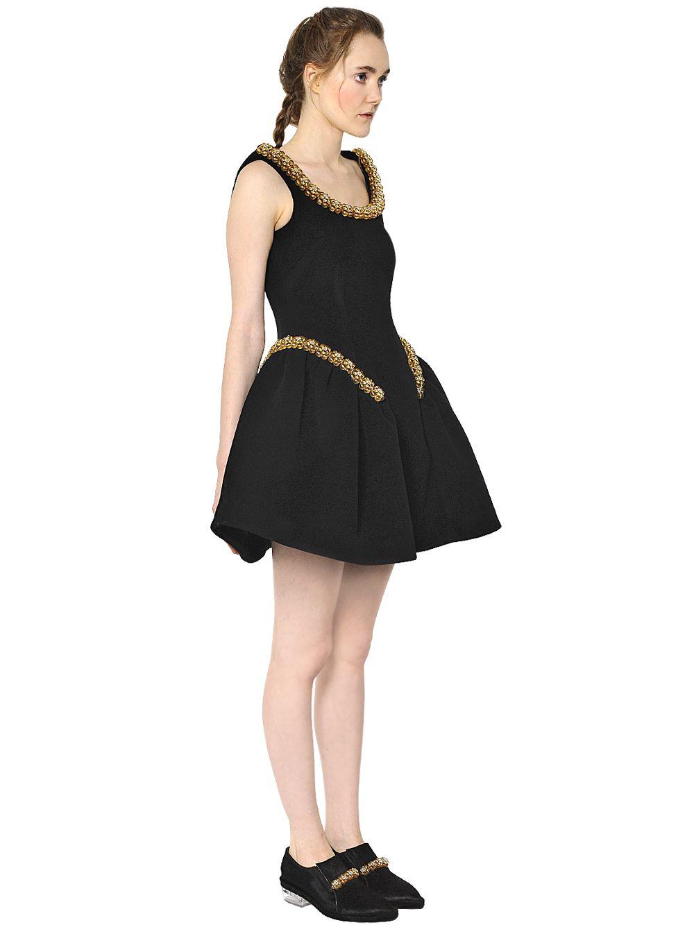 62668e3d99541 Lyst - Simone Rocha Bonded Wool   Neoprene Dress in Black