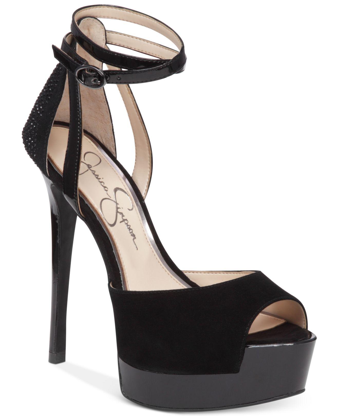 Jessica simpson Koen Ankle-strap Platform Pumps in Black | Lyst