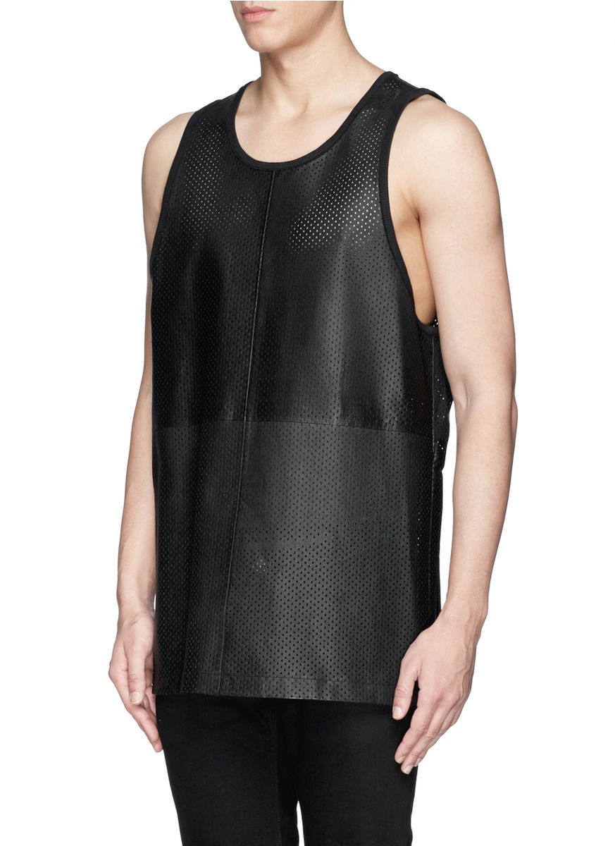 Givenchy Perforated Leather Tank Top In Black For Men Lyst