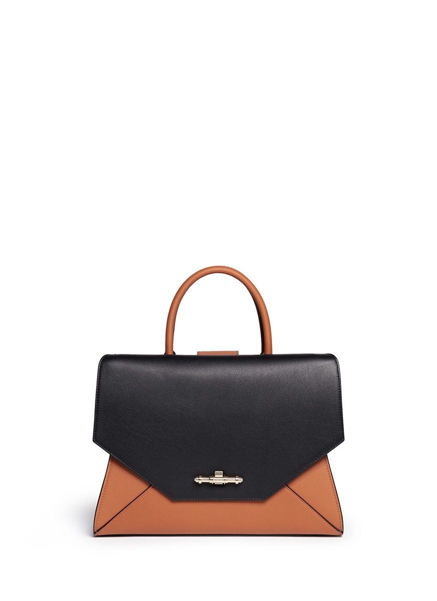 2e31c9980d53 Lyst - Givenchy  obsedia  Small Bicolour Leather Flap Tote in Black