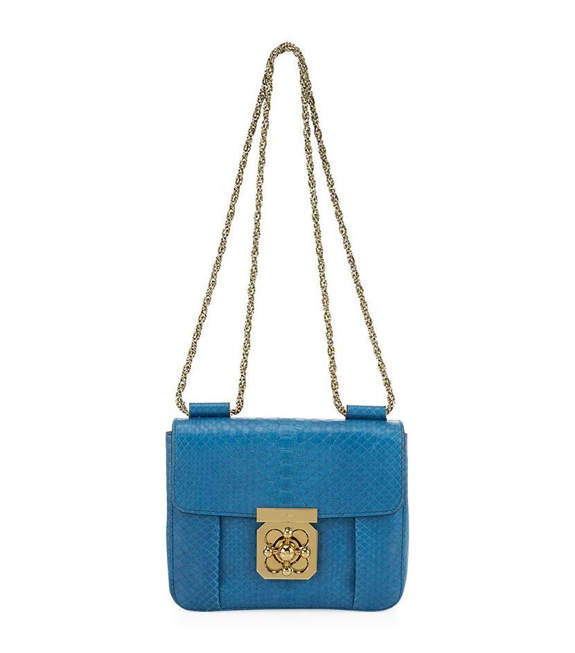 4db3c7c095fe Chloé Small Elsie Python Shoulder Bag in Blue - Lyst
