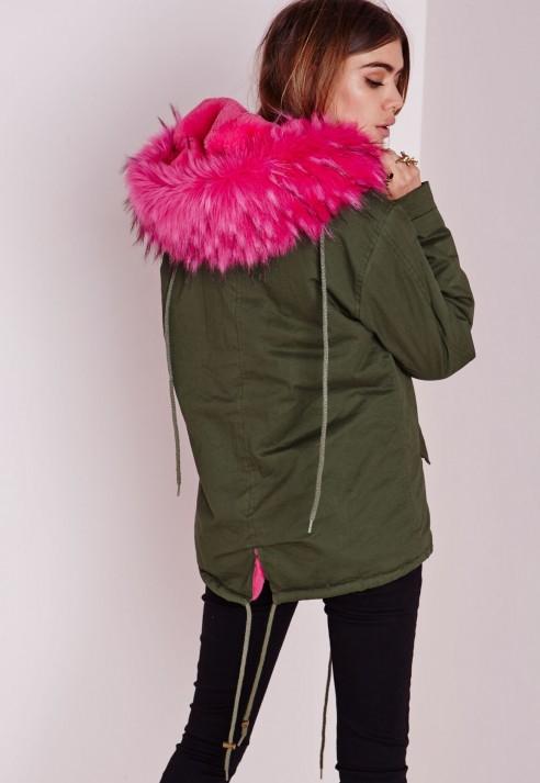 Khaki green coat with pink fur hood
