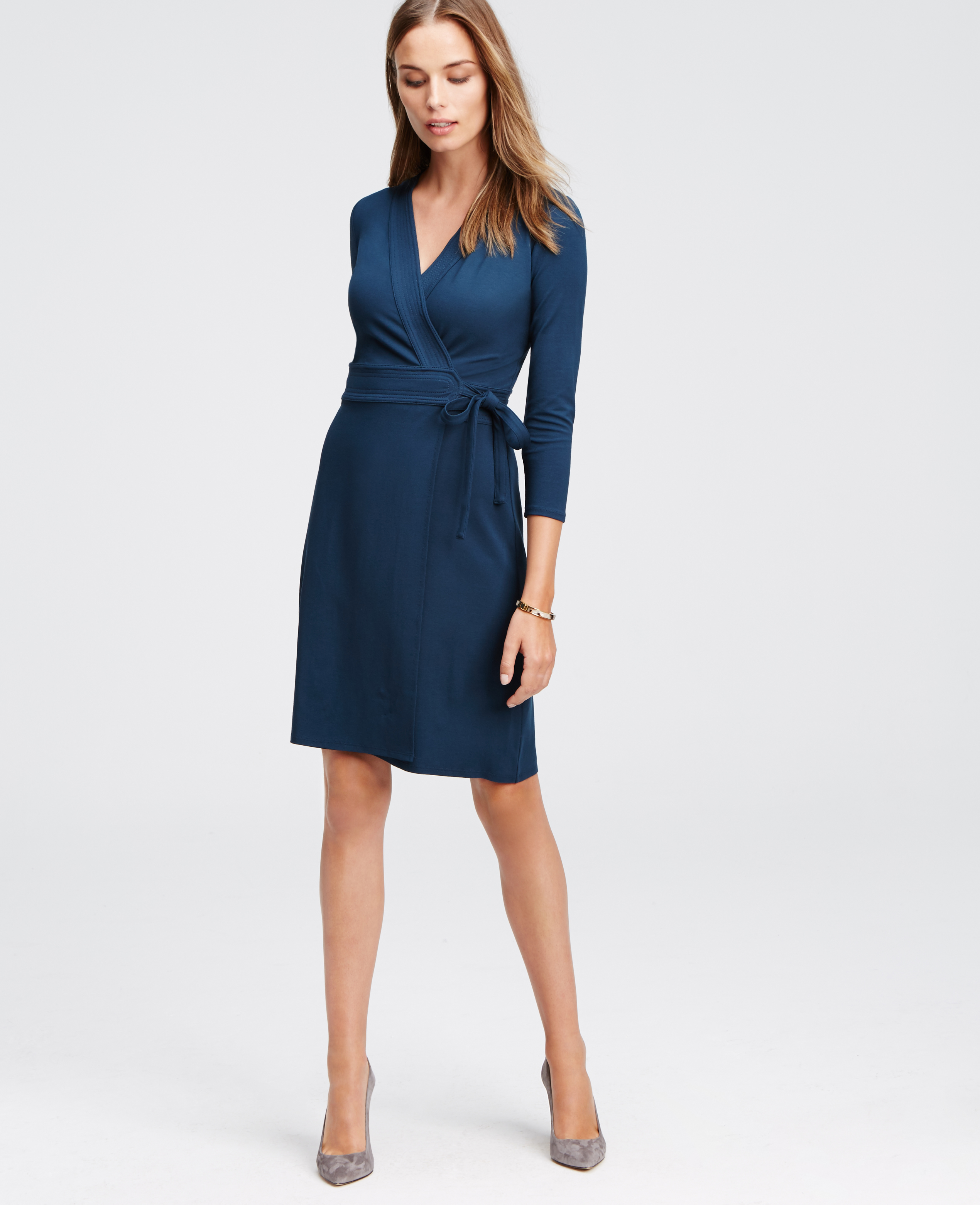 Ann taylor Petite 3/4 Sleeve Wrap Dress in Blue | Lyst