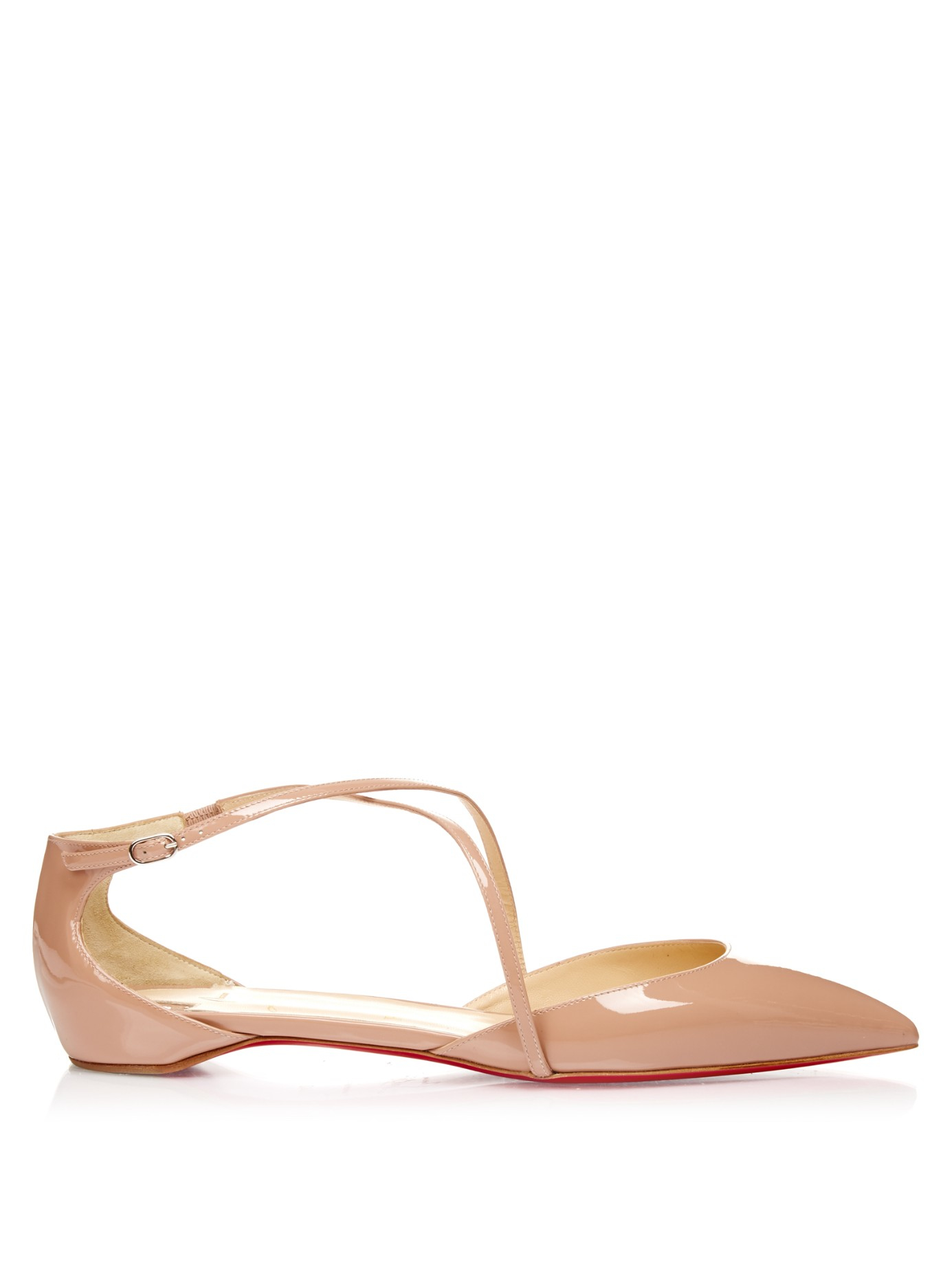 d0f83b27f59c ... hot lyst christian louboutin crosspiga patent leather flats in natural  dcbd7 062f7