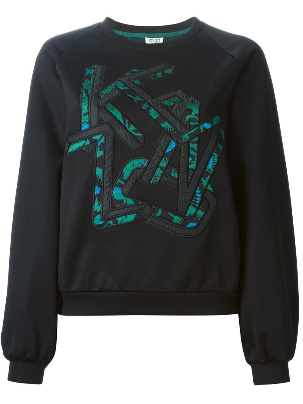 Kenzo letters sweatshirt in green black lyst for Letters for sweatshirts