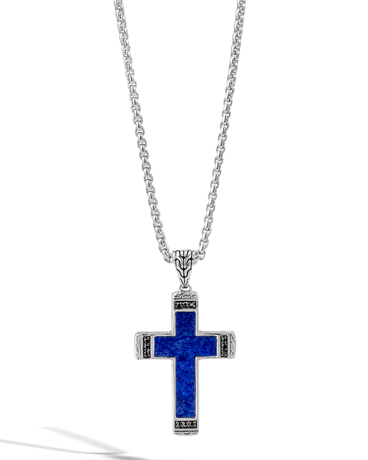 John hardy men 39 s classic chain lapis cross pendant for Black and blue jewelry cross necklace