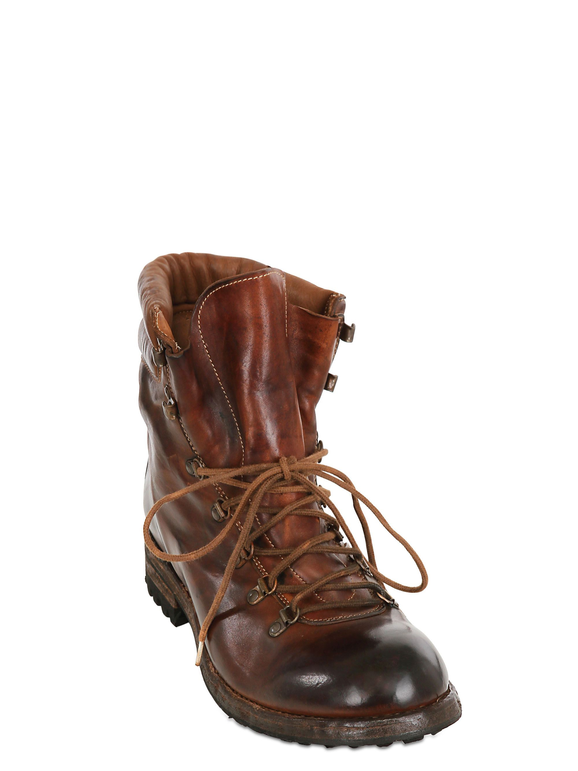 8ea65d9ce0158 Officine Creative Vintaged Washed Leather Boots in Brown for Men - Lyst