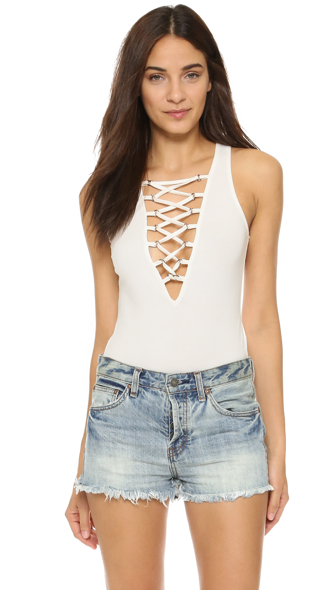 Glamorous Lace Up Bodysuit in White | Lyst