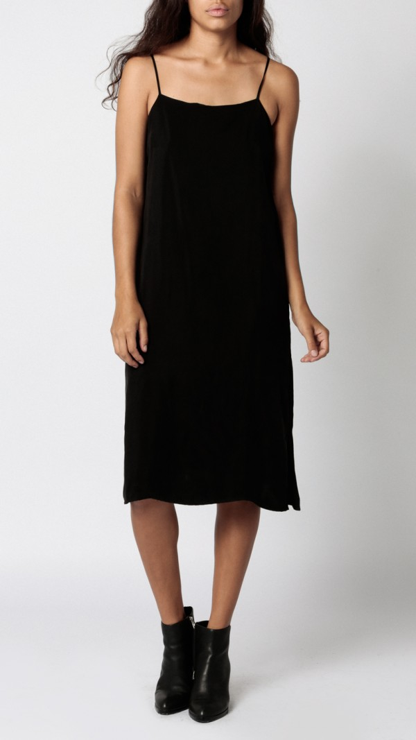 Objects Without Meaning Crepe Slip Dress In Black