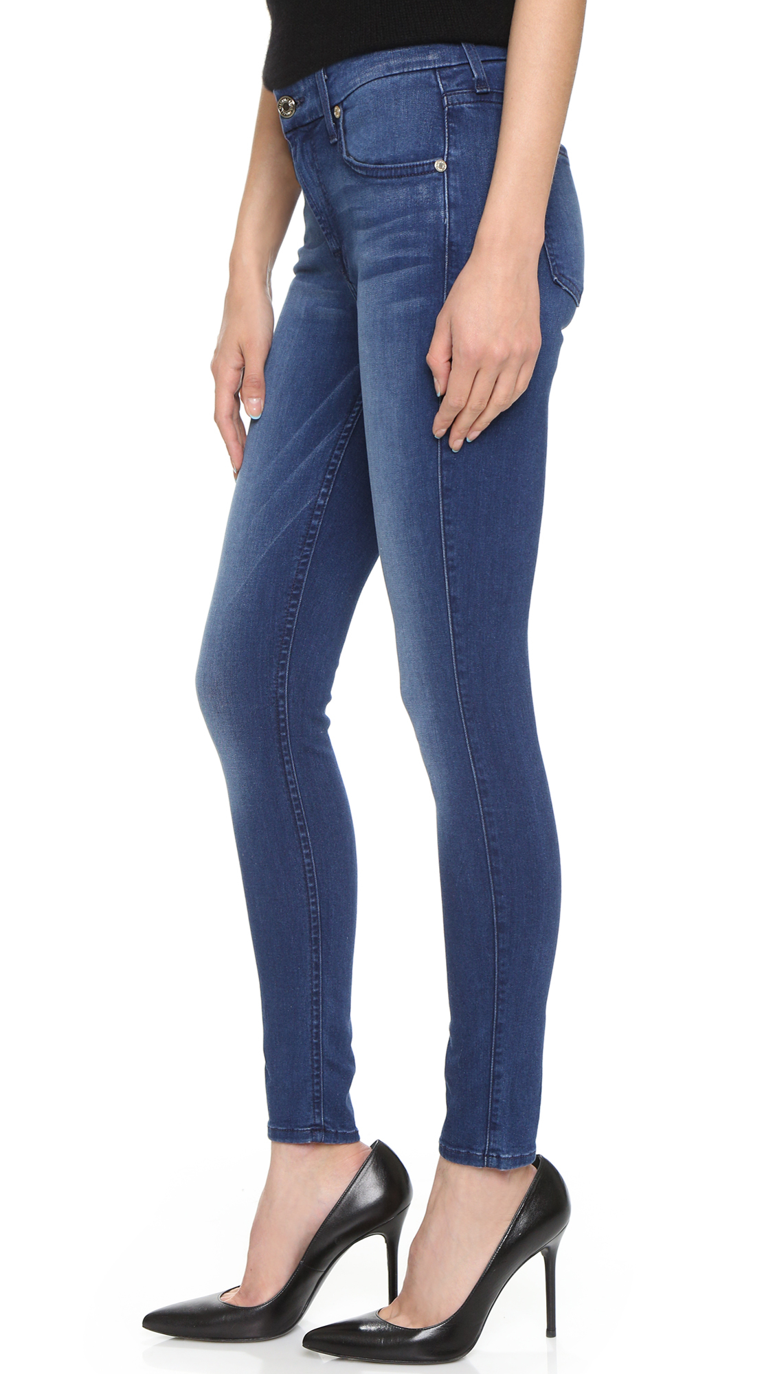 7 for all mankind Mid Rise Ankle Skinny Jeans in Blue | Lyst