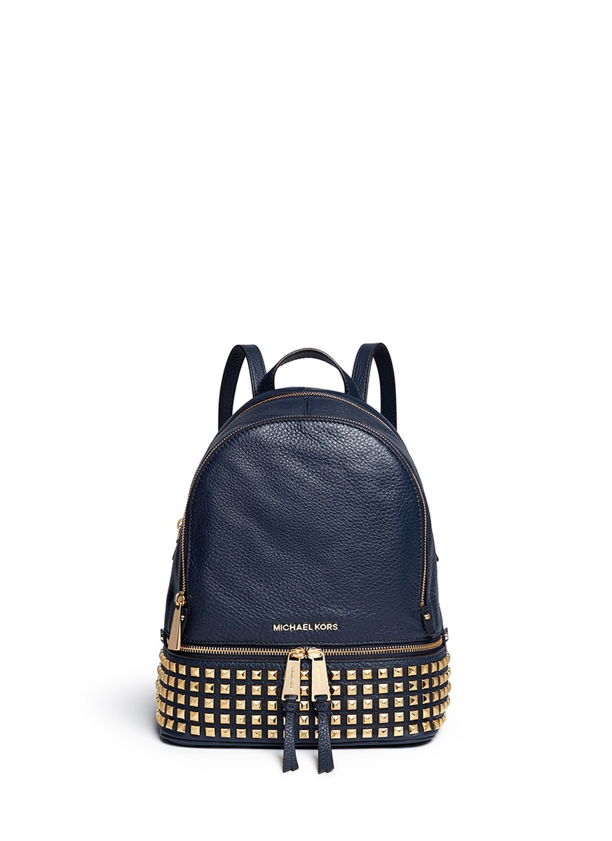 e3a0cb842f99 ... australia michael kors rhea small stud leather backpack in blue lyst  73d49 52b58