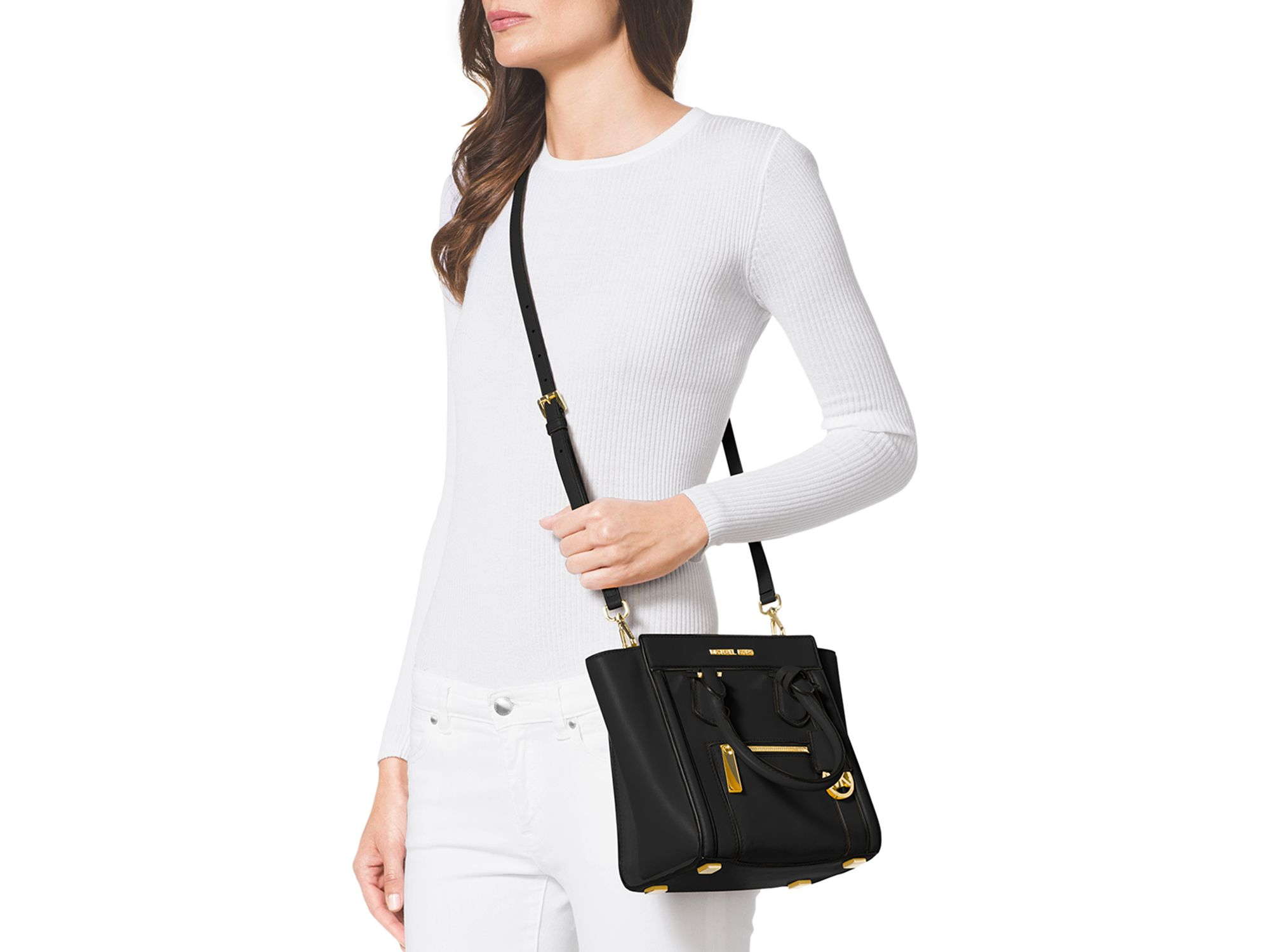 91665002f6810 Lyst - MICHAEL Michael Kors Satchel - Colette Zip Medium Messenger ...