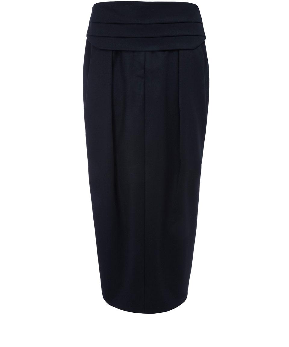 ter et bantine black pleat waistband wool midi skirt in