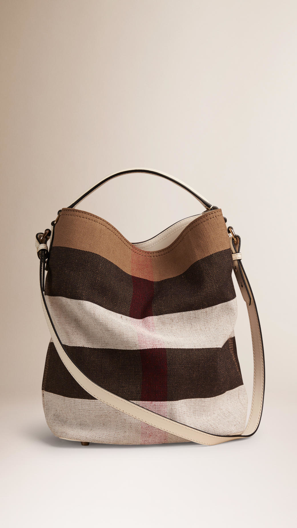 f240c0369b5f Lyst - Burberry The Medium Ashby In Canvas Check And Leather White ...