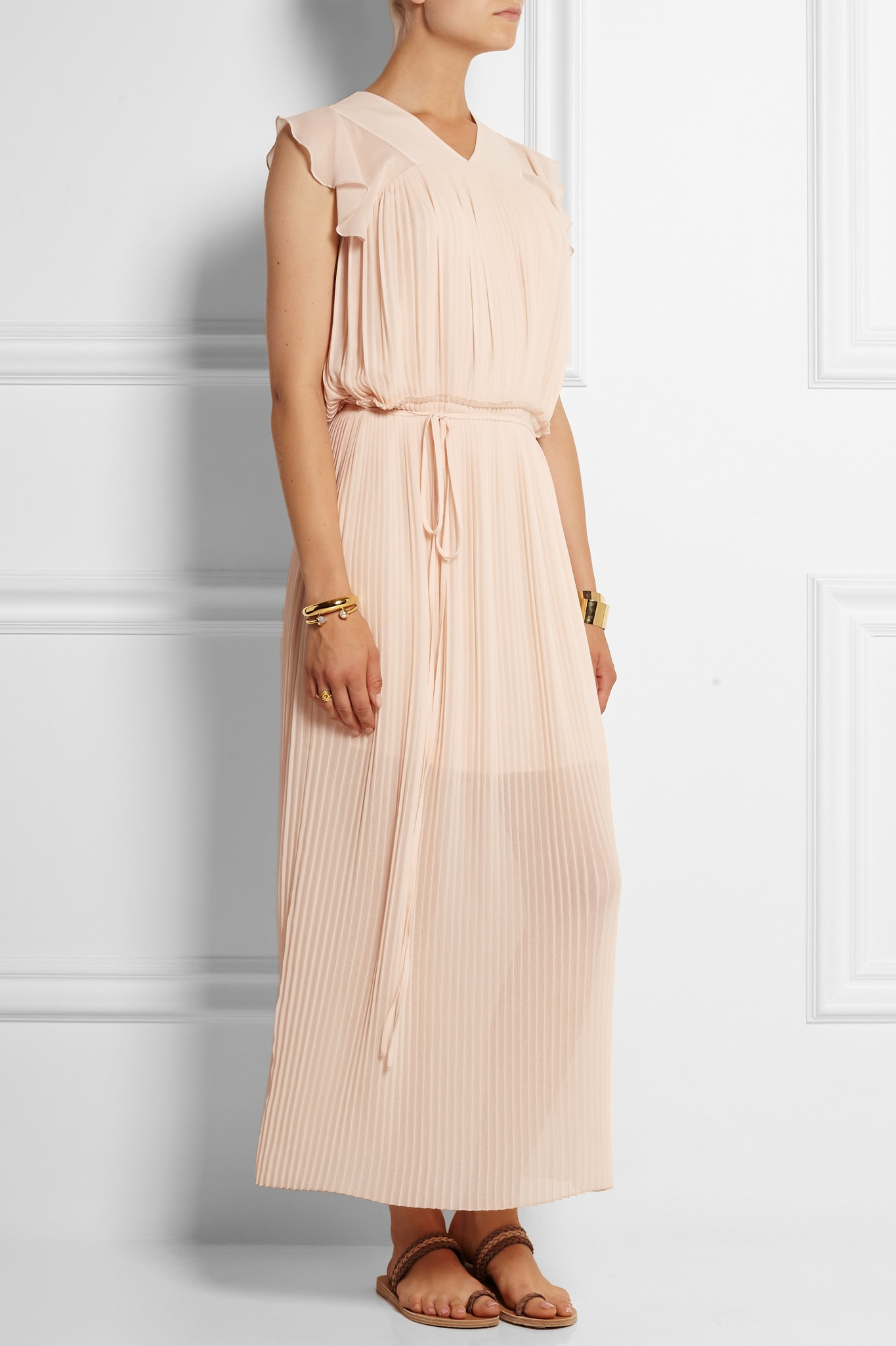 6a23c00d62 Lyst - See By Chloé Pleated Georgette Maxi Dress in Blue