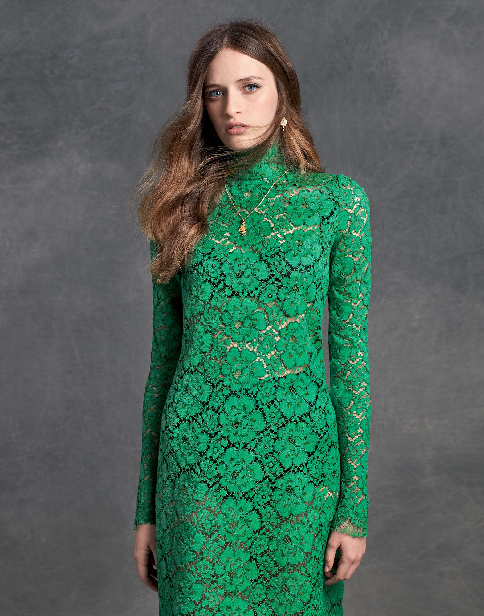 Dolce and gabbana green lace dress