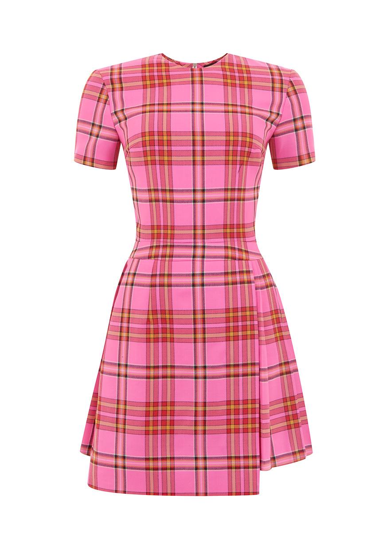 House of holland Tartan Kilt Dress in Pink   Lyst