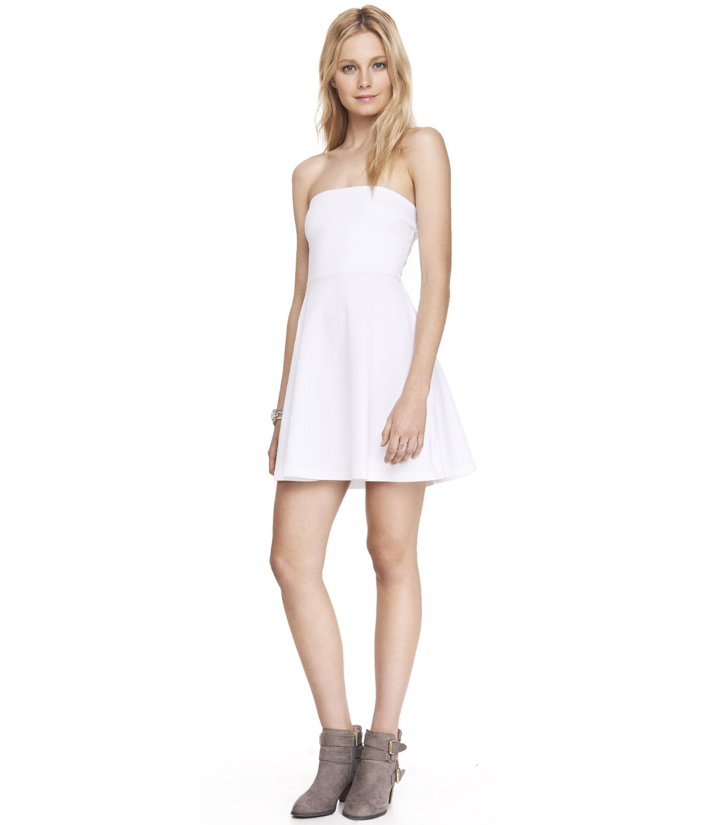 Express White Strapless Stretch Cotton Skater Dress in White | Lyst