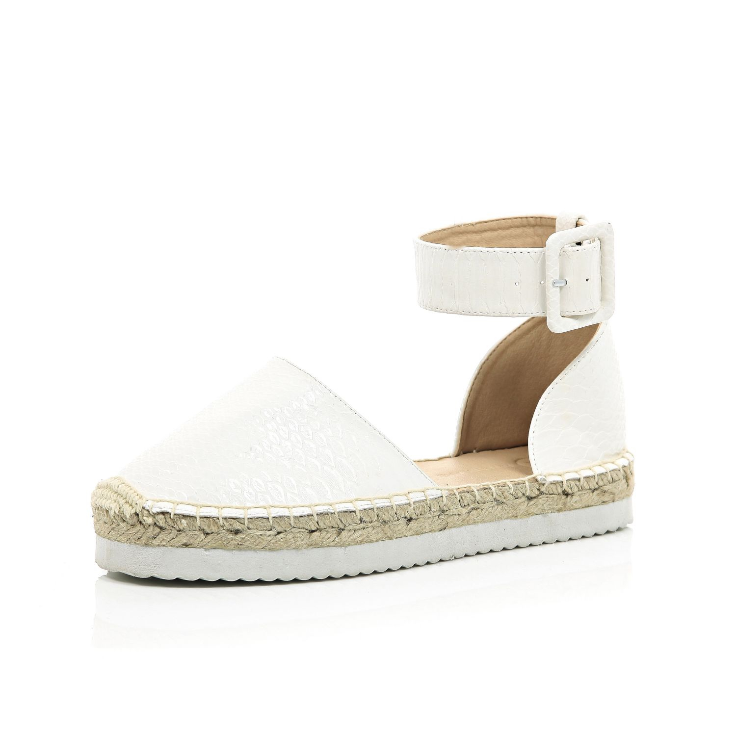 White And Gray Bathroom: River Island White Chunky Ankle Strap Espadrilles In White