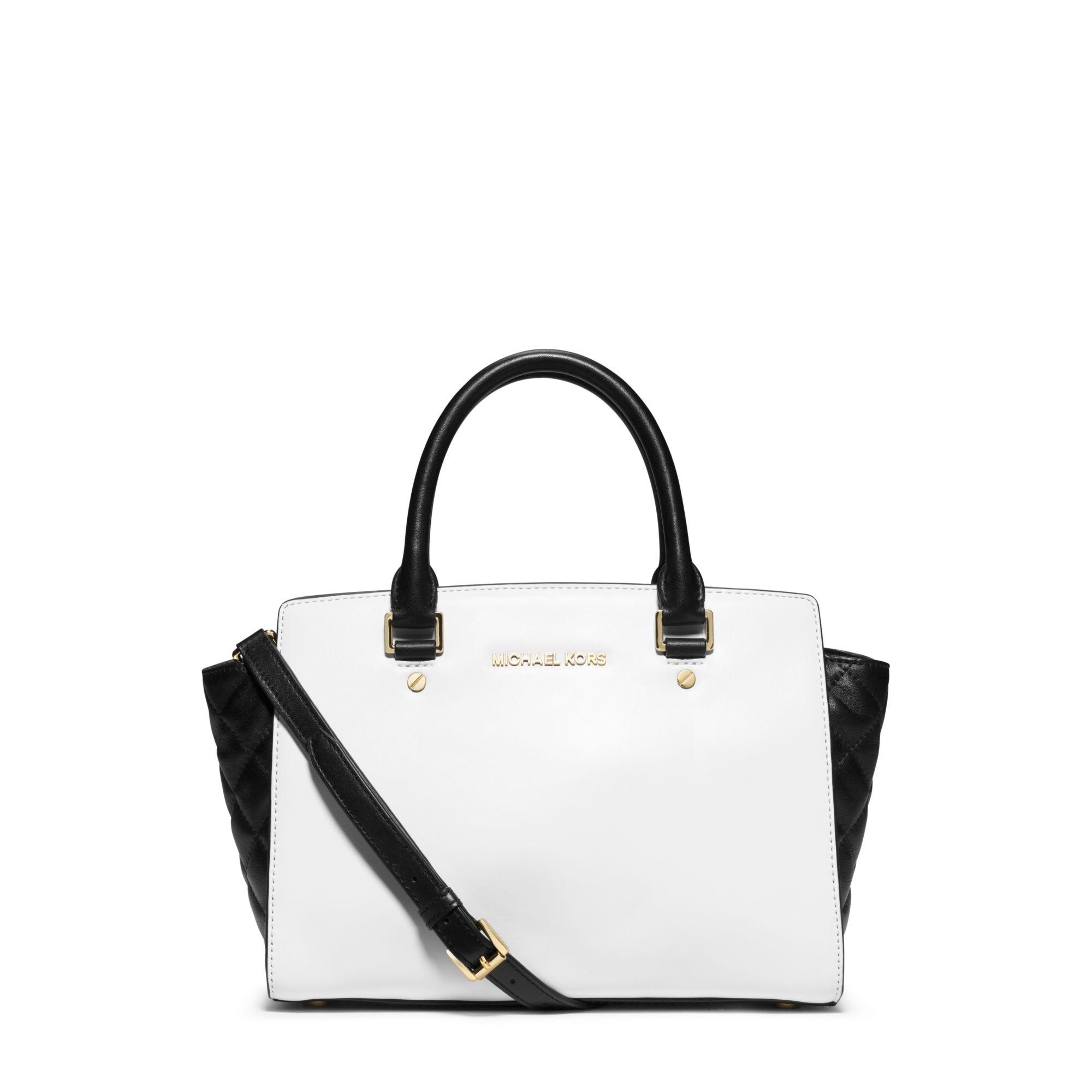 3d5391cee4 Lyst - Michael Kors Selma Medium Color-block Leather Satchel in White