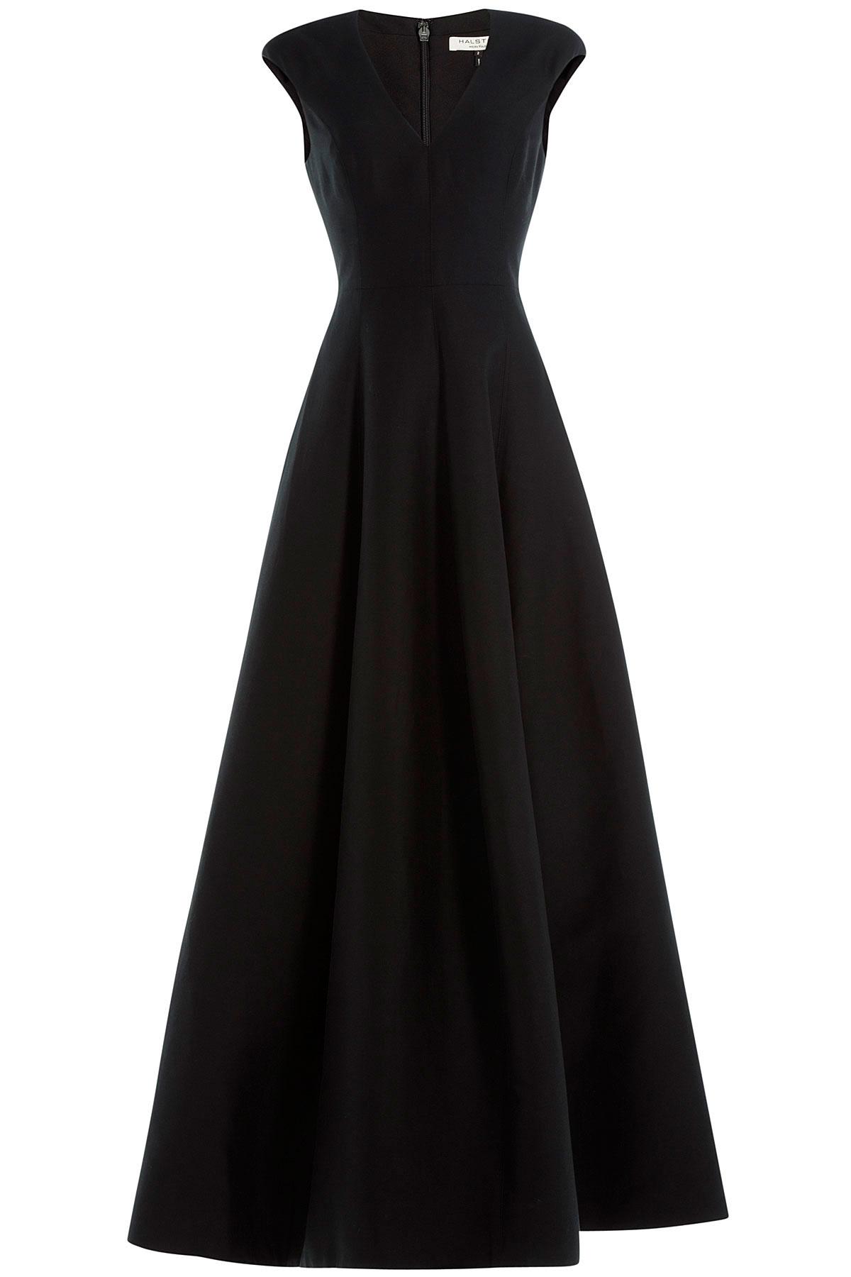 Lyst - Halston Floor Length Evening Gown With Silk - Black in Black