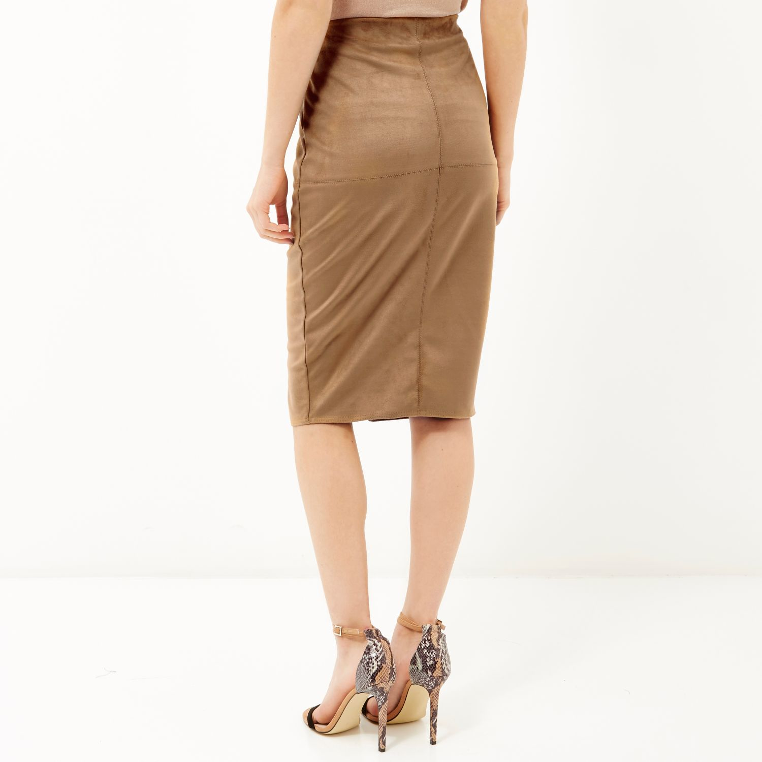 e7f07ab90 River Island Tan Brown Faux-suede Split Front Pencil Skirt in Black ...